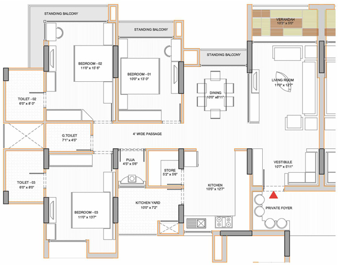 Apollo db city for Three bedroom flat floor plan